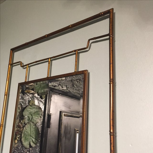 Bronze Metal Bamboo Framed Chinoiserie Mirror - Image 4 of 4