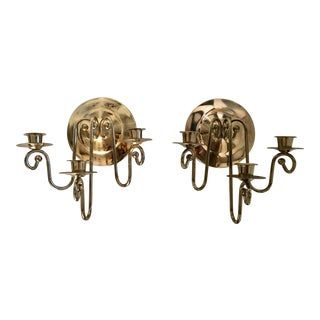 Georgian Solid Brass Candle Sconces - a Pair