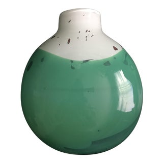 White and Green Glass Vase Marked Cohen 91