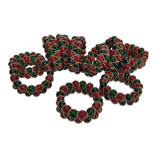Vintage Red & Green Glass Beaded Napkin Rings - Set of 11