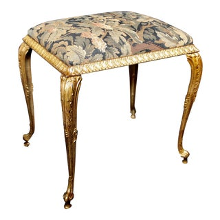 Tapestry Covered Gilt-Metal Bench