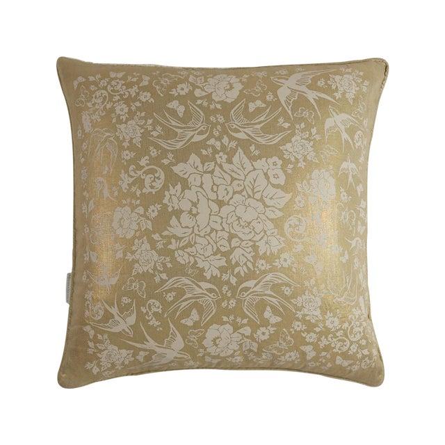 Metallic Linen Swallow Garden Pillow, Gold - Image 1 of 4