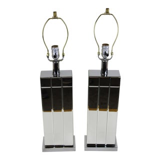 Chrome & Mirror Table Lamps - A Pair