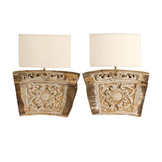 A Single 19th Century Italian Wooden Fragment Made into A Sconce