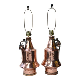 Antique Anatolian Copper Vessel Lamps - A Pair