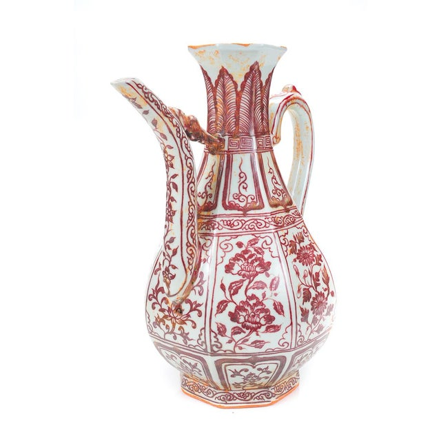 """Image of Chinese """"Red & White"""" Porcelain Ewer"""