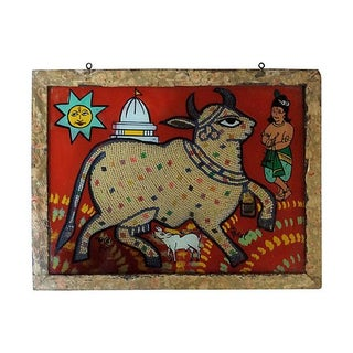 Beaded Indian Églomisé Cow Painting