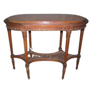 Antique Carved Marble Top Wood Table