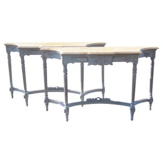 Swedish Style Marbletop Consoles - A Pair