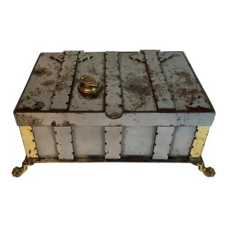 Vintage Steel & Brass Jewelry Box With Paw Feet