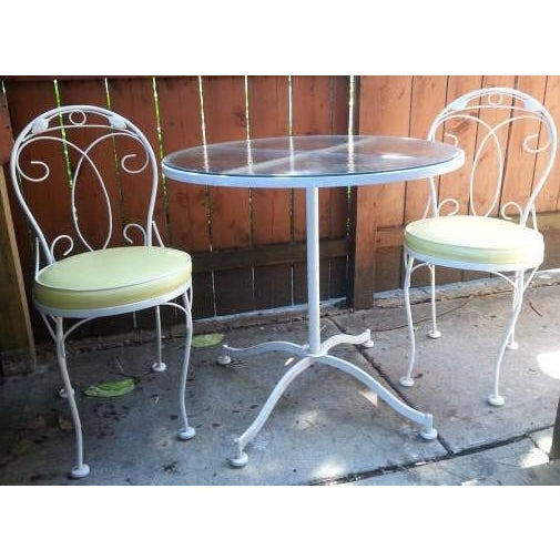 Vintage Meadowcraft White Wrought Iron Bistro Table & Chairs- Set of 3 - Image 2 of 6