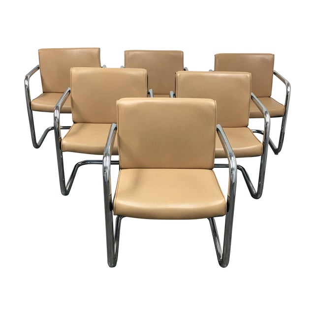 Krueger Leather & Chrome Chairs - Set of 6 - Image 1 of 8