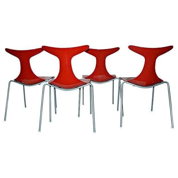 Sculptural Italian Red Dining Chairs Set Of 4 Chairish