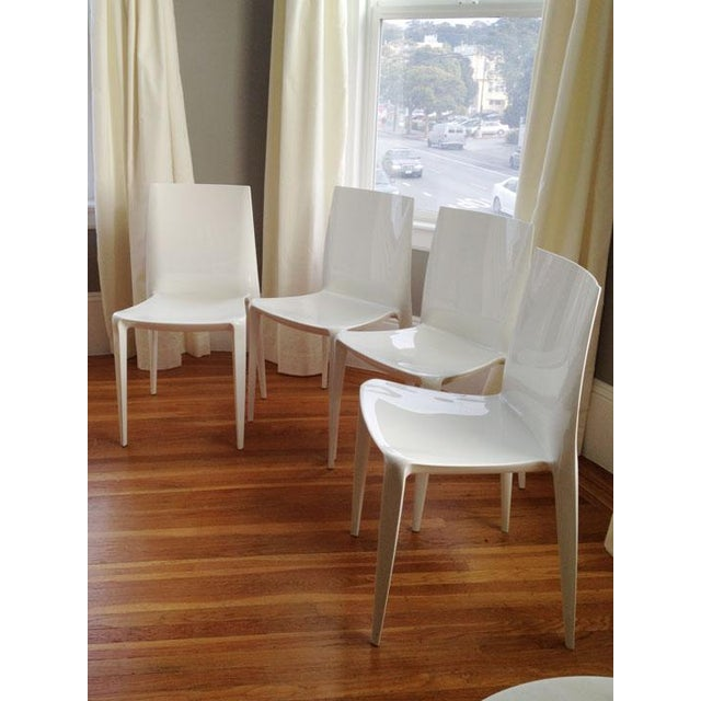 White High Gloss Bellini Chairs - Set of 4 - Image 3 of 5