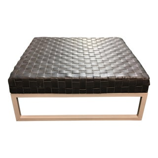 Woven Black Leather Ottoman
