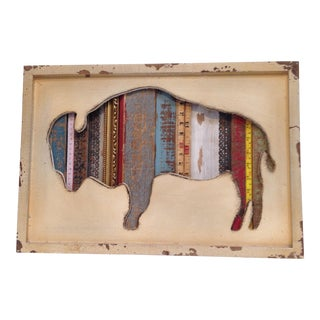 Bison in Relief Mixed-Media Wall Art