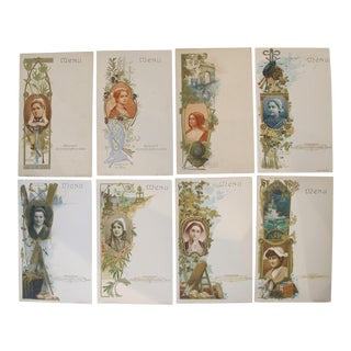 Set of 8 Art Nouveau Belle Epoque Trade Cards, French