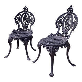 Antique Adams Navillus Cast Iron Garden Chairs - Set of 2