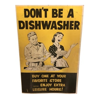 "1950s Vintage ""Don't Be a Dishwasher"" Sign"