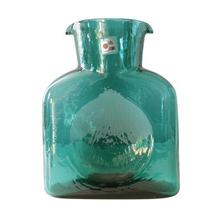Blenko Green Glass Water Bottle Pitcher