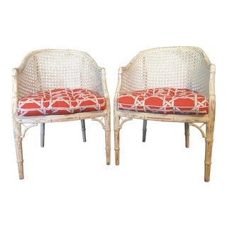Vintage Faux Bamboo & Caning Accent Chairs - a Pair