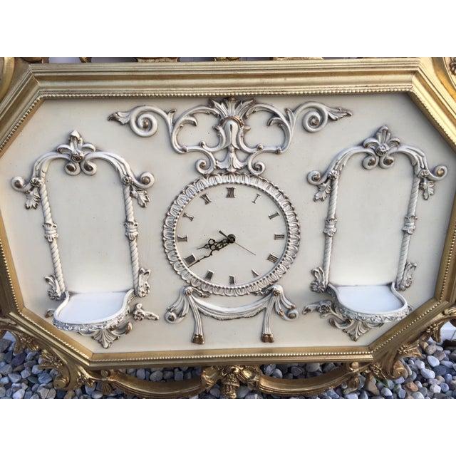 Image of Hollywood Regency Very Large Gold Gilt Framed Clock With Shelves