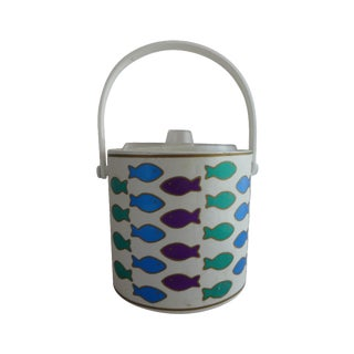 Mid-Century Ice Bucket With Colorful Fish