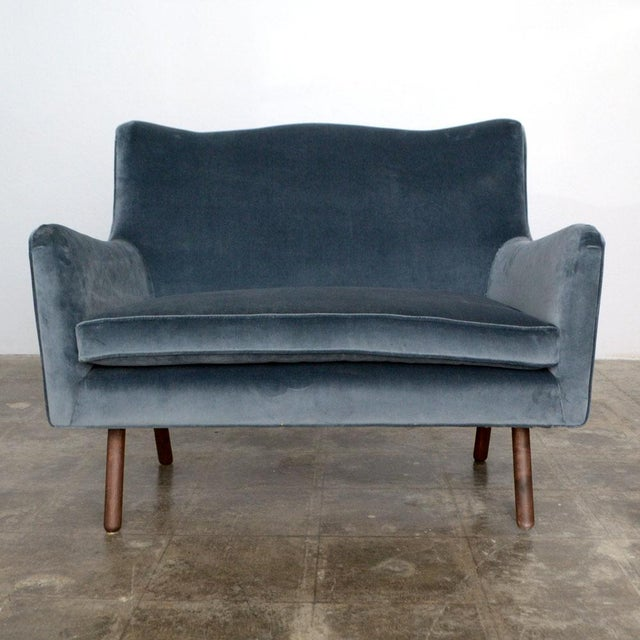 Image of Duplex Steel Blue Settee by Foundation