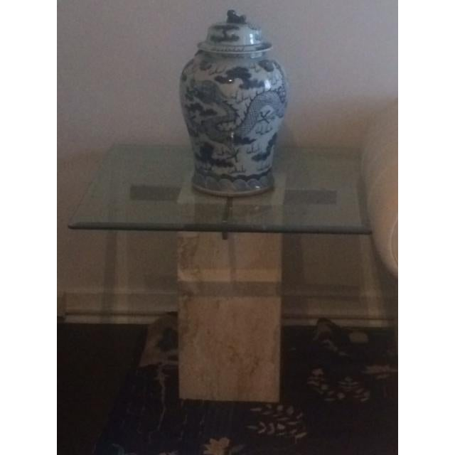 Brass & Glass Travertine End Table - Image 7 of 7