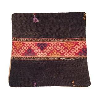 Vintage Black Kilim Pillow with Tassel