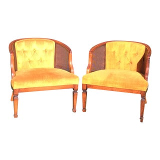Vintage Cane & Velvet Barrel Chairs - A Pair