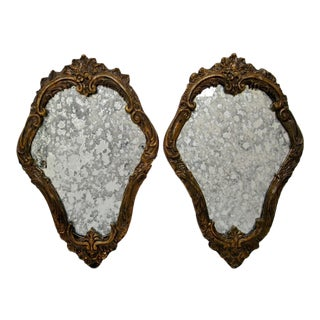 Baroque-Style Wood Mirrors - A Pair