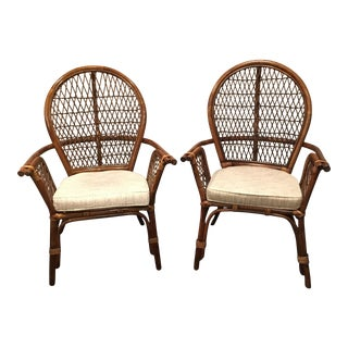 Wicker Armchairs With Cushions - A Pair