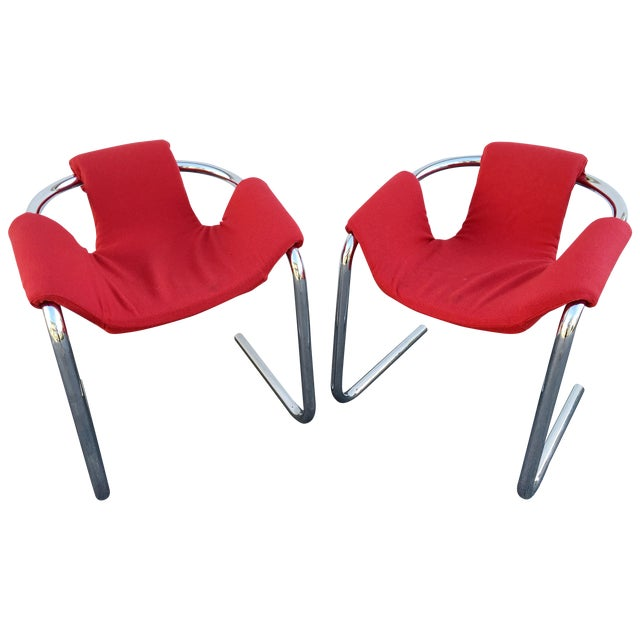 Vecta Vintage Zermatt Chrome Sling Chairs - A Pair - Image 1 of 7