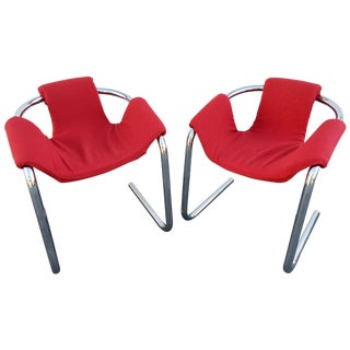 Vecta Vintage Zermatt Chrome Sling Chairs - A Pair