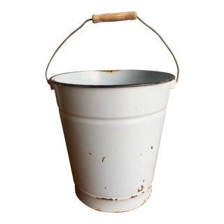 Vintage European Enamel Bucket with Wood Handle