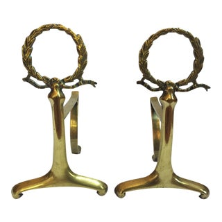 Vintage Petite Brass English Andirons - A Pair