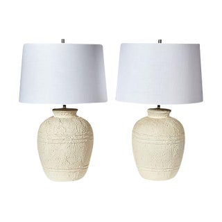 1970s White Textured Barrel Lamps - A Pair