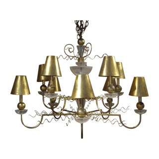 Van Teal Lucite and Gilt Metal Chandelier