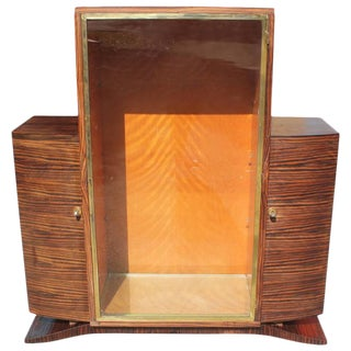 French Art Deco Macassar Ebony China Cabinet Circa 1940s