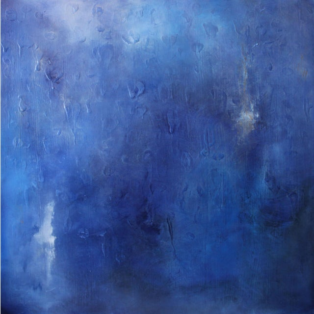 """Cool to the Core"" Modern Abstract Blue Art Textured Canvas Wall Hanging Painting - Image 1 of 3"