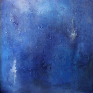 """""""Cool to the Core"""" Modern Abstract Blue Art Textured Canvas Wall Hanging Painting"""