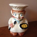 Image of Vintage 1940s Roseville Pottery Chef Cookie Jar