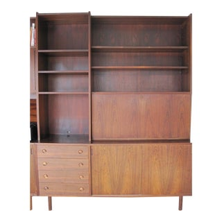 Danish Modern Rosewood Shelving Unit With Desk