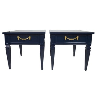 Navy Neoclassical Side Tables - A Pair