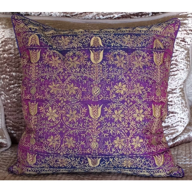 Luxury Silk Decorative Pillows : Luxury Purple Silk Emroidered Decorative Pillow Chairish