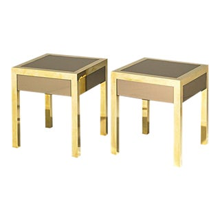 FRENCH BRASS AND MIRROR BEDSIDE TABLES