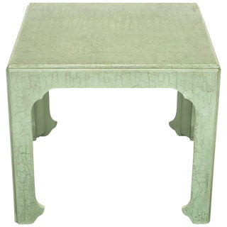 Baker Chinese Form End Table in Celadon Craquelure
