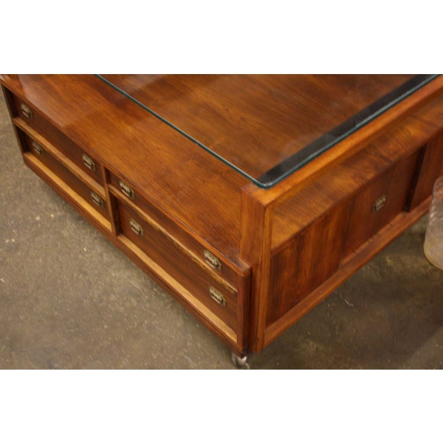 Walnut Glass Top Coffee Table On Castors Chairish