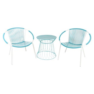 Mid-Century Hoop Chairs & Side Table - Set of 3